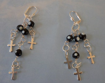 Assemblage Rosary Bead Earrings - Evil Eye Earrings - Cross Earrings - Silver Cross Earrings - Religious Jewelry - Catholic Gifts