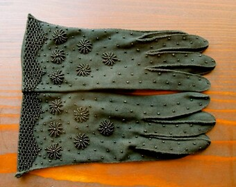 Evening Gloves Black Beaded Opera Gloves Goth Gloves