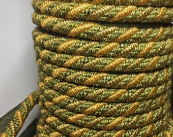 Coral and Green Rope Cord Trim with Lip - Variegated Rope Cording - Designer Rope Trim - Old World - Yardage Acvailable - per 1 yard