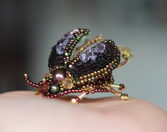 Embroidered brooch - Bug magic, bee jewelry,  bee pin