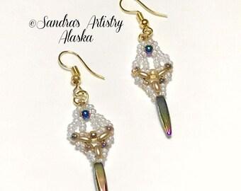 Boucles d'oreilles perles en hématite-or-blanc (fait à la main et conçu)