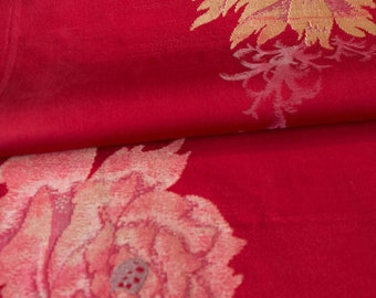 Bold Flowers on Dark Red // Vintage Kimono Fabric // Last Piece!
