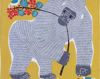 Gorilla & Birds Yellow Japanese Furoshiki Wrapping Cloth 50x50cm Small size (20011-107) Price depends on order total.