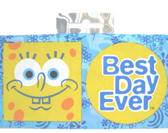 "On Sale * Nickelodeon Spoongebob Squarepants ""BEST DAY EVER"" Sparkly binder Sticker // Bumper sticker // Spongebob squarepants party"