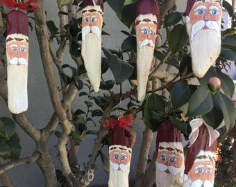 Hand Painted Driftwood Santa Ornament