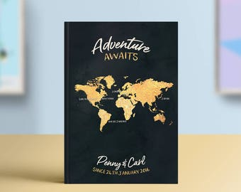Adventure Awaits Bucket List Journal, Travel Notebook, Personalised Book, Traveller Gift, Places We've Been, Customisable Travel Journal