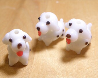 DESTASH -- 40 % OFF -- Three (3) White and Dark Brown Spotted Puppy Dog Lampwork Glass Beads
