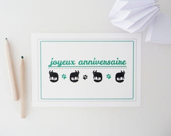 "PRICE MINI greeting card ""Happy birthday"" illustrated with black cats"