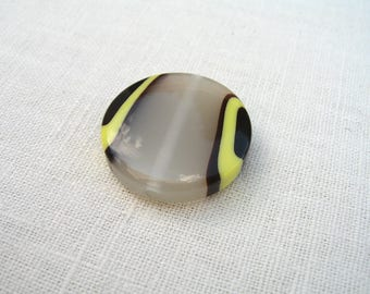 6 pastille grey resin beads and marbled 28mm