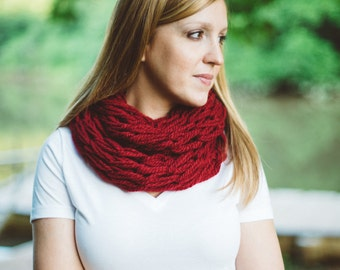 Knit Scarf, Arm Knitted Scarf, Inifinity Scarf, Warm Scarf