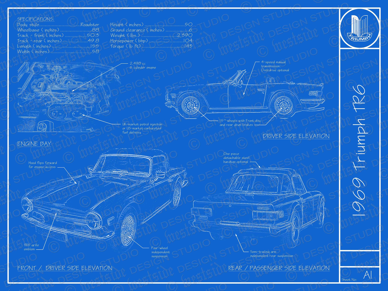 1969 Triumph TR6 Blaupause Plakat 18 x 24