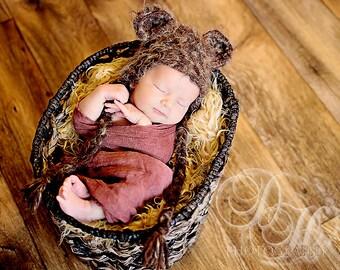 Star Wars Ewok Hat Newborn 0 3m Fuzzy Brown Baby Crochet Photo Prop Boy Girl Clothes Animal Custom Gender Neutral So Cute Super  SOFT