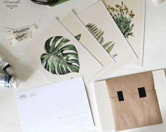 Set of 4  Plants cards. Illustrated Cards. Botanical Cards. Art Postcards. set Botanical Postcards. Watercolor.  Scandinavian style. Nordic