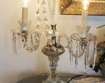 Antique Art Deco Crystal Candelabra Girandole Table Chandelier