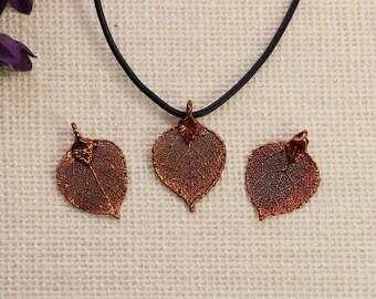 SALE Leaf Necklace, Copper Aspen Leaf, Real Aspen Leaf Necklace, Silver Aspen Leaf, Copper Leaf Pendant, SALE364
