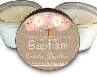 Set of (6) Baptism Favors // Dedication Favors// Christening Favors // Baptism Favor // Baptism Candle // Baptism Thank You  Baby Girls