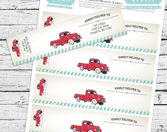 Red Truck Birthday Theme - Fillable PDF mailing labels...