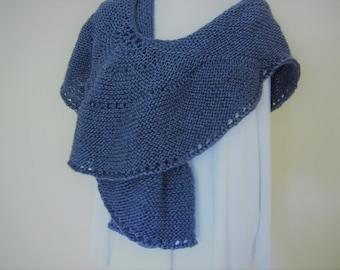 Hand Knit Shawl/Wrap, Shimmery Blue Wool Tencel