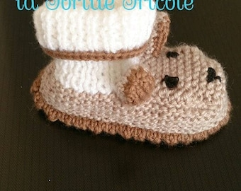 only knitted to order baby booties for baby bear. Hand made