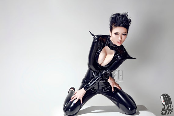 Sexy Woman Latex Catsuit Latex Clothing
