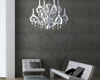Cardboard chandelier etsy xxl jewel chandelier white home party decor mozeypictures Images