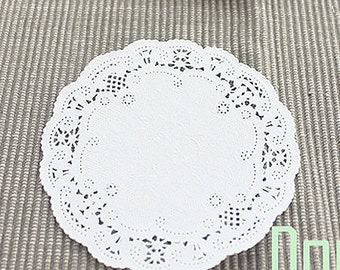 20 Lovely Lace Paper Doilies - White (4in)