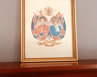Vintage Royal Wedding announcement , Prince Charles, Lady Diana, 1981, framed