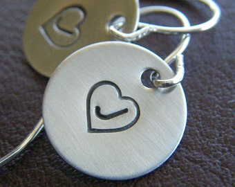 Personalized Initial Earrings - Hand Stamped Sterling Silver - Initial Heart Monogram Charms