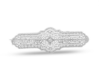 0.05 CT Natural Diamond Vintage Art Deco Pin Brooch in Solid 14k White Gold