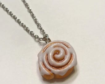Cinnamon Roll Necklace, Polymer Clay Food Jewelry