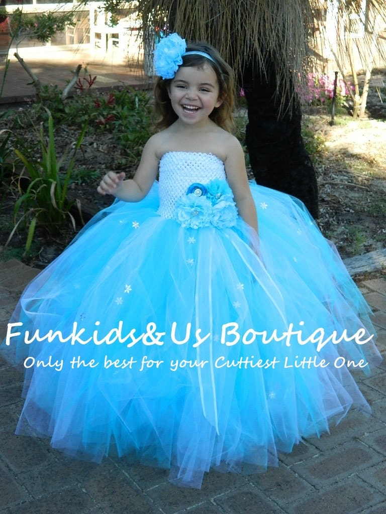 Blue and white flower girl dress/ Junior bridesmaids