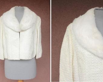 1950's White Fur and Ribbon Cropped Jacket - 50's White Weddin Cropped Jacket - Size S