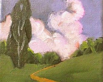 Miniature Impressionist Painting 4x4 Plein Air Landscape California EUCALYPTUS TREE HILLS Lynne French