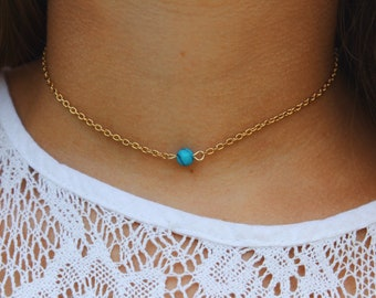 Turquoise Bead X Gold Chain