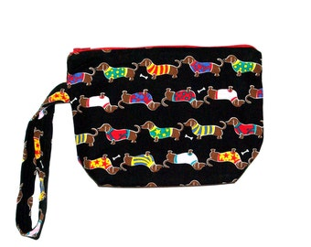 Dachshund Doxie Wristlet Bag, Small Cell Phone Bag, Cosmetic Bag, Bag With Wiener Dogs, Ready to Ship TODAY AGFT 119