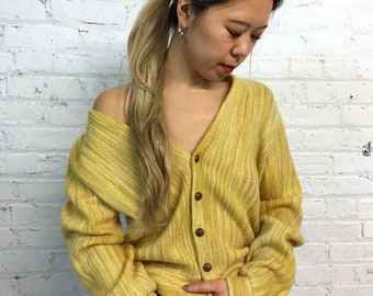 vintage 60s Gary Player striped golf sweater / mustard yellow mohair cardigan knit sweater / preppy button down sweater