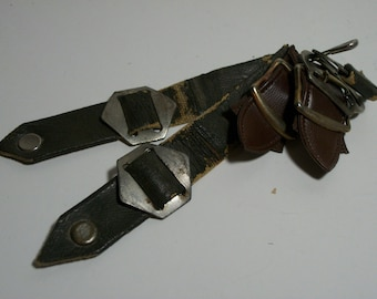 Vintage Brass, Metal and Leather Straps with Buckles