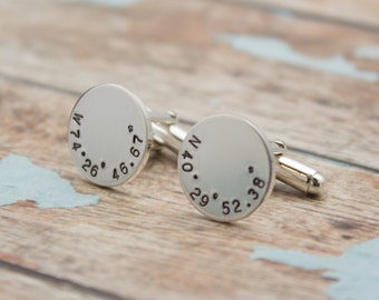 Latitude and Longitude CUFF LINKS, Personalized Location CuffLinks, Coordinates Cuff Links, Wedding Day Gift