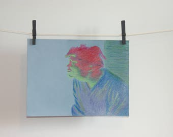 """Original drawing - """"fade in color"""" - surreal Portrait of a man on a blue tinted paper - small drawing colored pencils"""