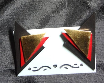 Layered Triangles Wood and Metal Post Style Earrings