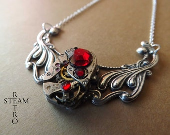 Steampunk Clockwork Pendant & Siam Swarovski Crystals - Steampunk Jewelry -  personalized jewelry