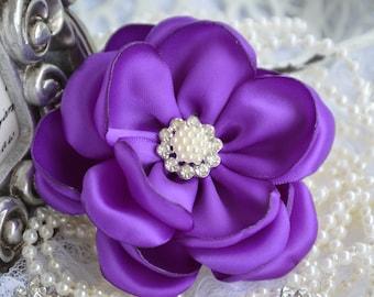 "Purple Satin Ribbon Flowers, 3"" Satin Fabric Flowers, Purple Satin Flower, Ribbon Flowers, Pearl Crystal Flowers, 37 Colors"