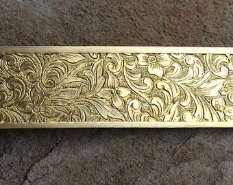 """Lamp Banding Brass 3/4"""" Small Floral Pattern Texture for Rolling Mill"""