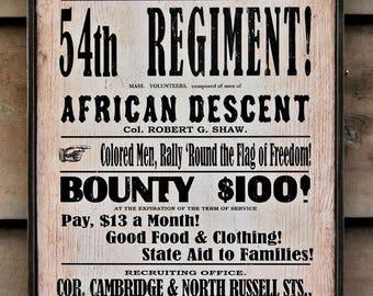 Rustic wooden sign '54th Regiment' American Civil War Sign (Reproduction)