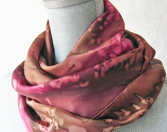 Ready to Ship Silk Scarf Handpainted in Brown and Red, Mother's Day Gift