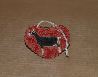 Handmade Stoneware Ornament-Sable/Alpine doe in Red