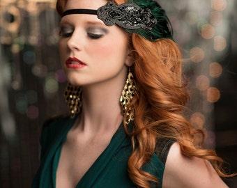 Gatsby headpiece, Green Gatsby headband, 1920s headpiece, 1920s hair accessory, Flapper headpiece, 1920s headband, Vintage inspired
