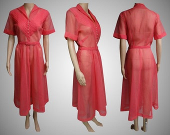 Vintage 1940s Dress | Sheer 40s Dress | Coral 1940s Dress | 40s Dress | Pleated Bodice | Rhinestone Buttons | 1940s Illusion Dress