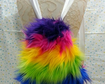 Rainbow Furry Drawstring Backpack |  Fluffy Rave Bag |  Gifts Under 30 | Gifts for Her | Gifts for Him | Gifts for Kids