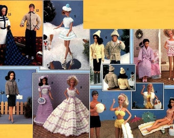 Instant PDF Download Vintage Crochet Patterns PDF to make a Large Wardrobe or Selection of Clothes for Barbie & Ken and Teenage Dolls